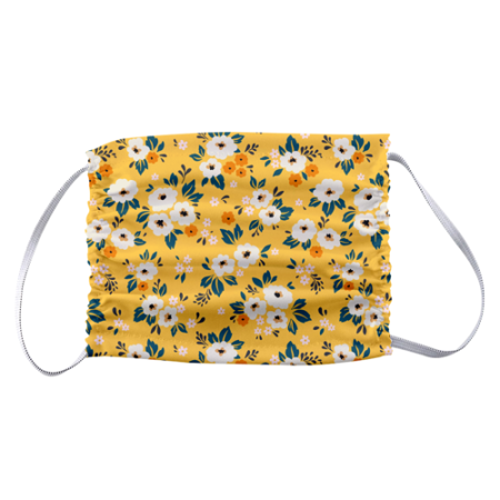 Yellow flowers face masks design printed at Helloprint - Flat view