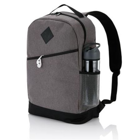 Unprinted Modern Backpack with a mesh side pocket available at Helloprint.