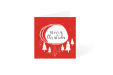 Red Christmas card with red and white tree square design available at ocmprintstore.co.uk