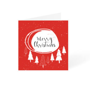 Red Christmas card with red and white tree square design available at Drukzo