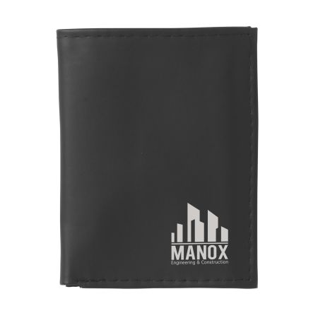Black wallet for money and cards, personalised with a logo and design on Helloprint.