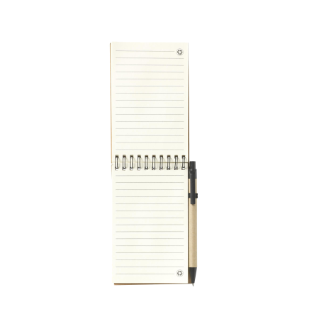 A flipped open recycled notebook available to be printed with a custom logo or image at Helloprint