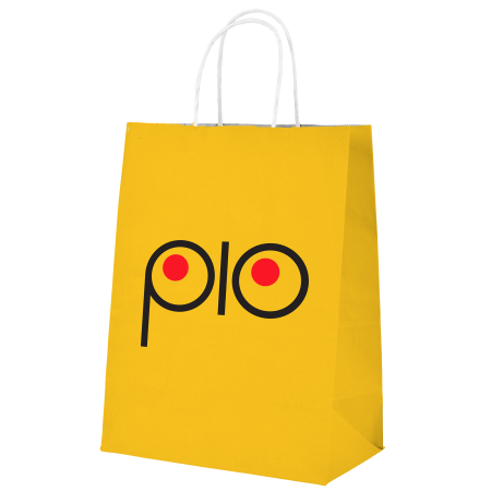 A product image of a yellow Pio kraft paper bag available to be printed with a personalised logo or images at HelloprintConnect