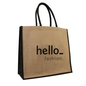 Coloured Jute Bag with a Logo Display Example on the Front, available at Helloprint