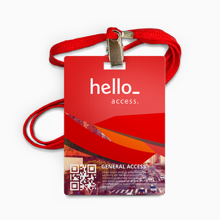 A red rectangular hole punched PVC card offered at Helloprint with the possibility to add a personalised logo or design.