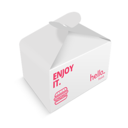 A box for food packaging printed with a pink burger, to personalize with a design on Directprinting.nl