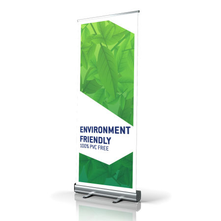 High quality rollup banner from HelloprintConnect, made of entirely recycled materials.
