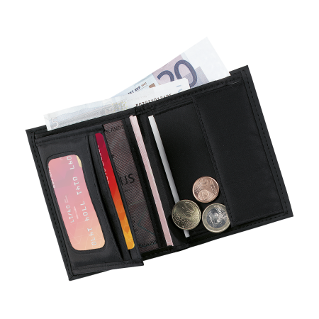 Black wallet with many compartments for money and cards, personalised at Helloprint with your own logo or design.
