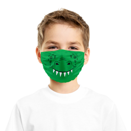 Microfibre face mask for kids printed with a crocodile mouth - design available at HelloprintConnect
