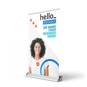 Mini roll-up banner achterzijde