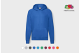 Image of a blue Fruit of the Loom hoodie with your logo.