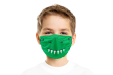 A boy wearing a kids microfibre face mask printed with an animal mouth