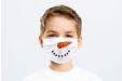 A kids' face masks printed with a snowman's mouth and carrot nose for a festive Christmas Helloprint