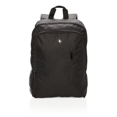 Personalised Business Backpack in black with logo display on the front, available at Helloprint.