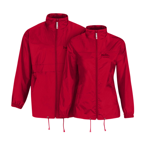 A red coloured fold-able windbreaker jacket available at Helloprint with personalised printing solutions