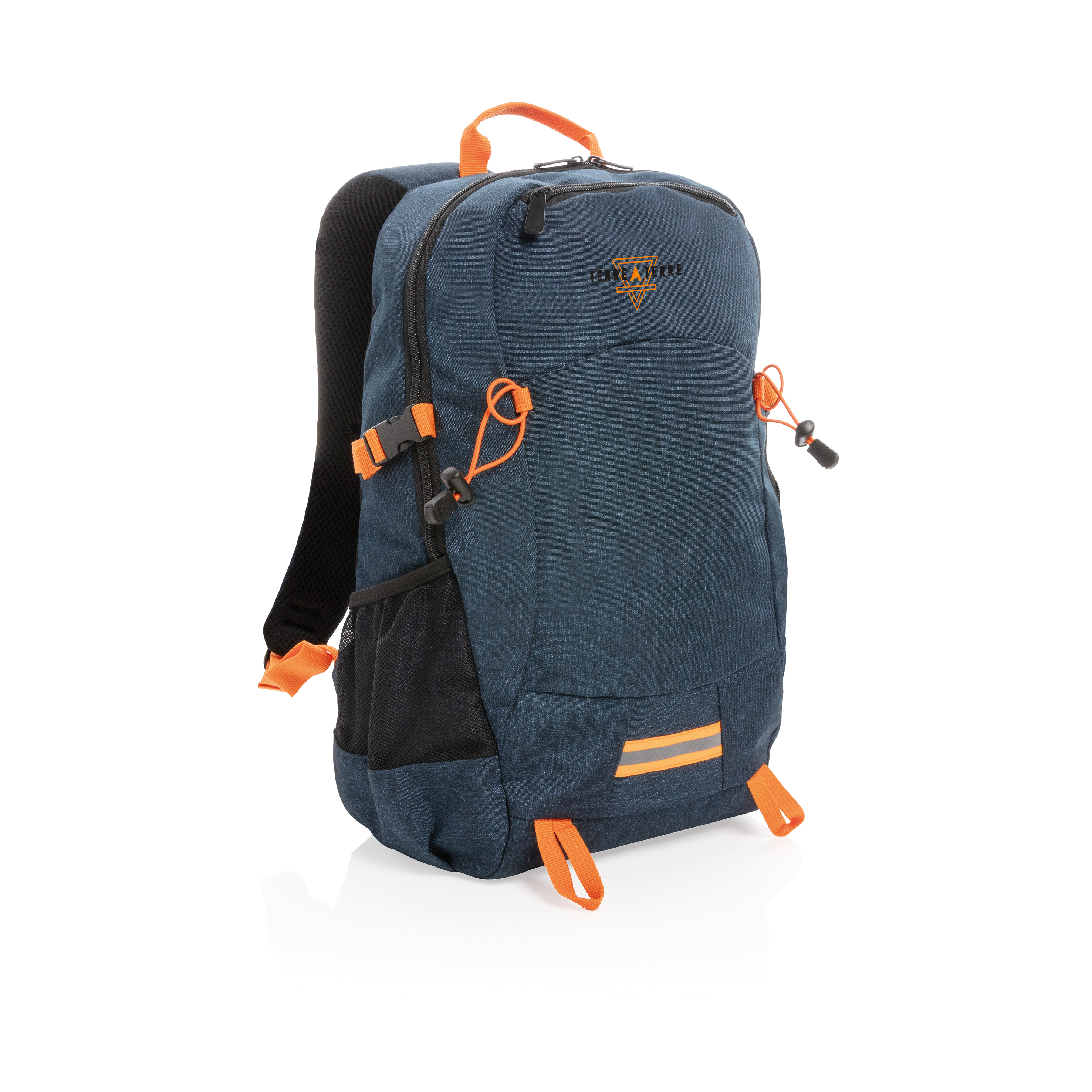 Personalised blue and orange sport backpack available at Helloprint at a low price.