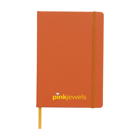 An orange A4 pocket notebook available at Helloprint with personalised printing solutions for a cheap price