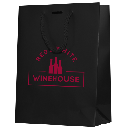 A black coloured paper bag available with a customised logo or image printed on the side at Helloprint.