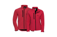 A red coloured Russel softshell jacket available at Helloprint with a personalised logo printed on.