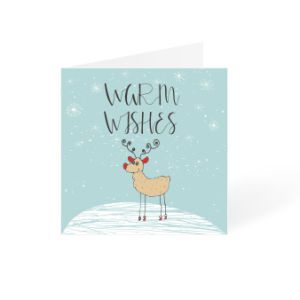 Blue warm wishes Christmas card with reindeer square design Helloprint