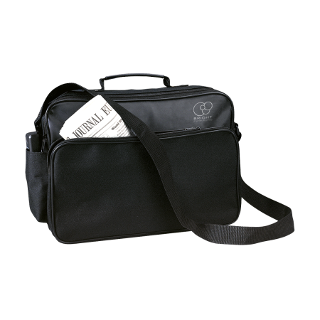 A black NewYork document bag available with a custom logo or image printed on the side at Helloprint