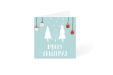 Blue Christmas card with white trees and snow square design available at Lokaalensneldrukwerk.nl