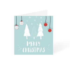 Blue Christmas card with white trees and snow square design available at Directprinting.nl