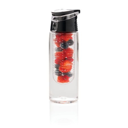 Personalised Black and Clear Lockable Infuser Water Bottle, available at Helloprint