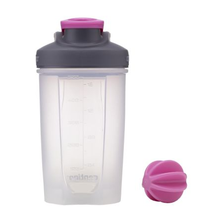 A pink coloured Contigo shake and go shaker bottle available with a custom logo printed on the side at Helloprint