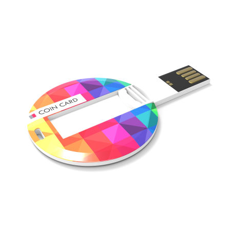 A high quality coin card USB available to be printed with a custom logo or image for a cheap price at Helloprint.