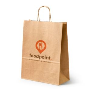 Elegant kraft paper bags with white interior printed with a business logo