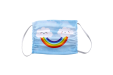 Cute smiling clouds and rainbow design printed on a kids face mask - print available online at Helloprint