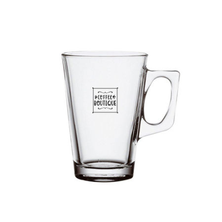 A 25 cl tea glass available to be printed with a personal logo or image on the side at Helloprint