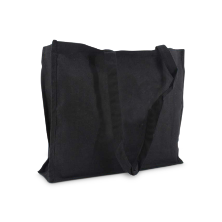 A product image of a black coloured premium canvas bag available to be printed with a personalised logo on the side at Helloprint