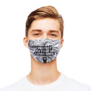 Un design marbré noir et blanc avec le texte Protect your loved ones imprimé sur un masque de protection en microfibre disponible sur Helloprint
