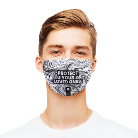 Protective face masks printed with message Protect your loved ones on a black and white marble background