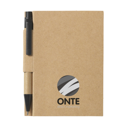 An Onte paper back notebook available to be printed with a custom logo or image at Helloprint.