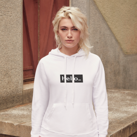 Female version White Promo Hoodie in black with Logo Display from Helloprint