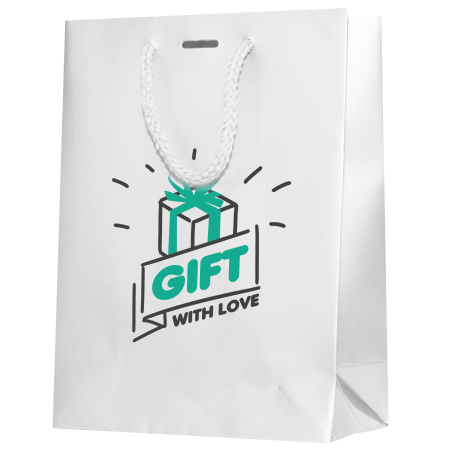 White coloured luxury paper bags available to be printed at a cheap price with a personalised image at Helloprint