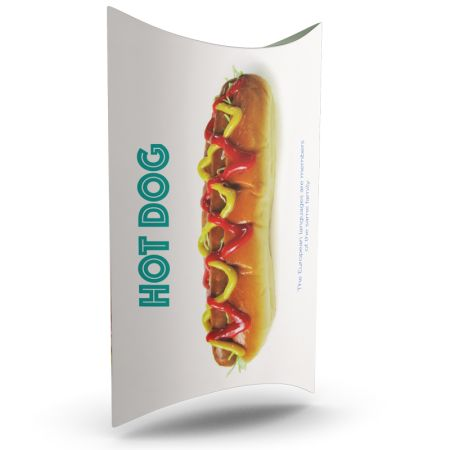 A food packaging box printed with a hot dog; to personalize with its visual on HelloprintConnect