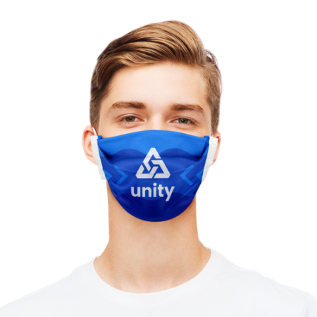 Man with blue polyester face mask