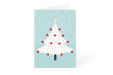 Blue Christmas card with decorated white Christmas tree design available at Lokaalensneldrukwerk.nl