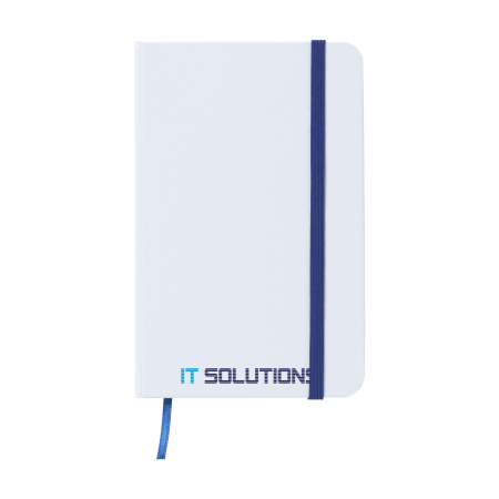 A white notebook with a blue strap available at Helloprint with customised printing solutions for a cheap price