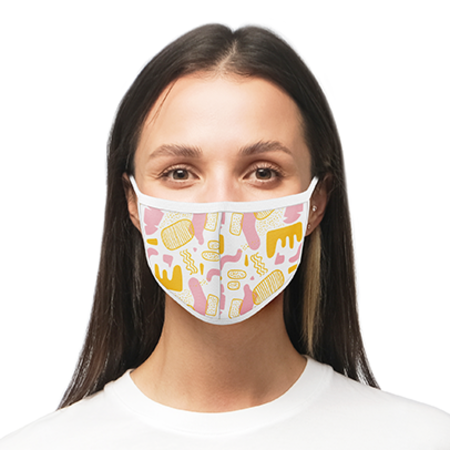 A 4 layer face mask including a certified filter, with personalised print avaialble at Helloprint