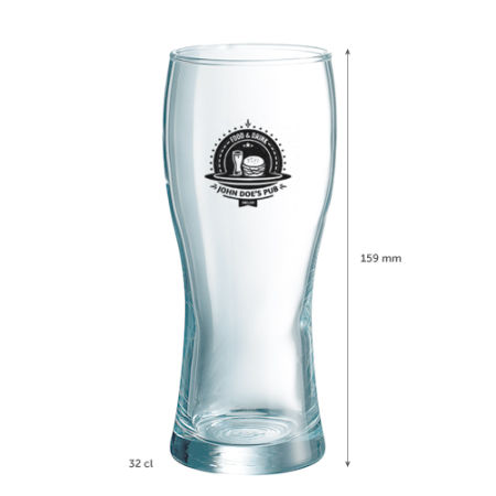 A 32 cl beer glass available to be printed with a custom logo or image on the side at Helloprint