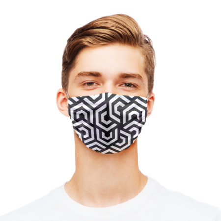 Face masks printed with a modern geometric pattern in black and white - predesigned by Helloprint