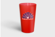 Red printed plastic cup