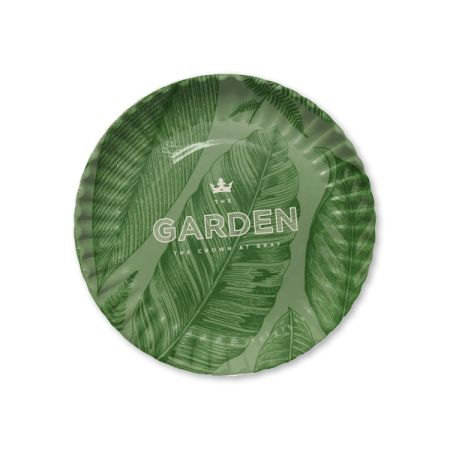A green printed paper plate available at Helloprint with custom printing options for a cheap price