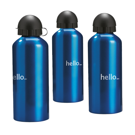 Three blue aluminium bottles available at Helloprint with custom printing options for a cheap price