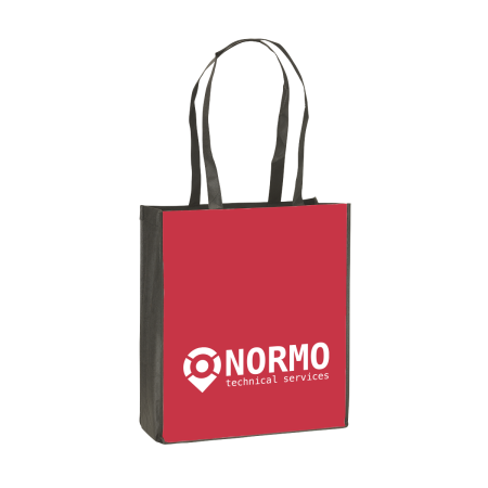 A red coloured shopping bag available at Drukzo with customised printing options for a cheap price